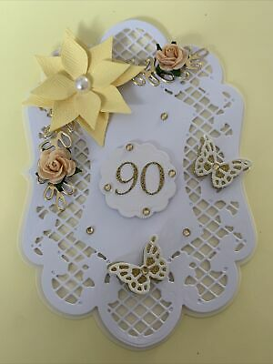 £1.90 • Buy 90TH Birthday Flower And Butterfly Card Topper