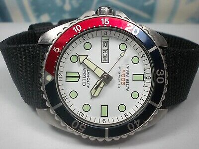 $ CDN0.01 • Buy Citizen 200m Divers Day/date Automatic Men's Watch, White/pepsi (sn 516263)