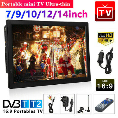 7/9/10/12/14'' 1080P Portable HDMI HD Digital TV Player Freeview Television HOT • 63.59£