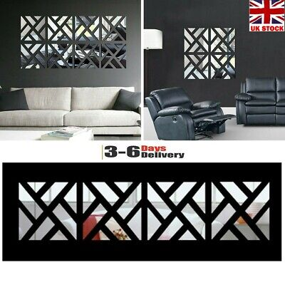 32X Mirror Tile Wall Sticker Square Self Adhesive Room Bathroom Decor Stick Art • 7.88£