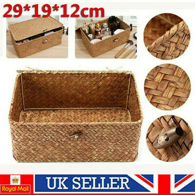 Large Wickers Storage Basket Box With Lid + Lock Woven Wicker Landry Hamper Gift • 8.98£