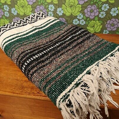 Mexican Green Grey Woven Stripy Falsa Yoga Blanket / Throw 43  X 73  • 18.99£