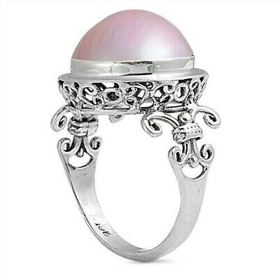 $30.68 • Buy Bali Ring Sterling Silver 925 Genuine Pink Mabe Pearl Face Height 17 Mm Size 9