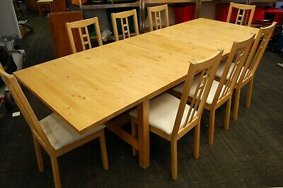 Lovely Modern Pine Extendable Dining Table And 8-10 Dining Chairs - Delivery Pos • 399.99£