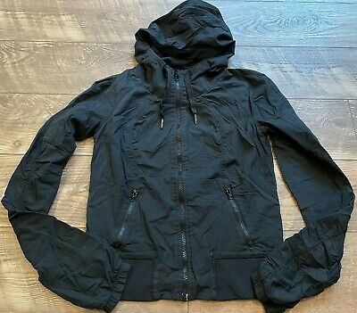 $ CDN13.32 • Buy LULULEMON Black Zip Up Hooded Lined Gym Yoga Athletic Casual Jacket Womens Small