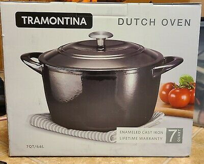$ CDN82.34 • Buy Tramontina Enameled Cast Iron Covered Round Dutch Oven, Gray, 7qt New