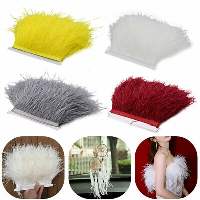 £5.98 • Buy 1M Artificial Ostrich Feather Fringe Trim For Millinery Hat Craft Dress 4 Colour