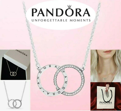 Pandora Sterling Silver Necklace ENTWINED CIRCLES SPARKLE 396235CZ Genuine Gifts • 16.85£