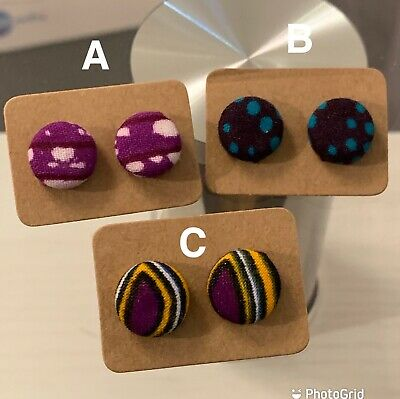 £4 • Buy African Fabric Covered Button Earrings