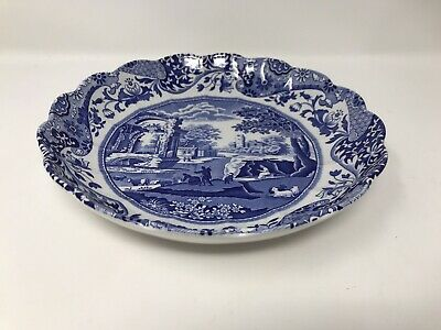 £29.99 • Buy Spode Blue Italian Shallow Fluted Scalloped Bowl/ Dish 22cm 8.5in