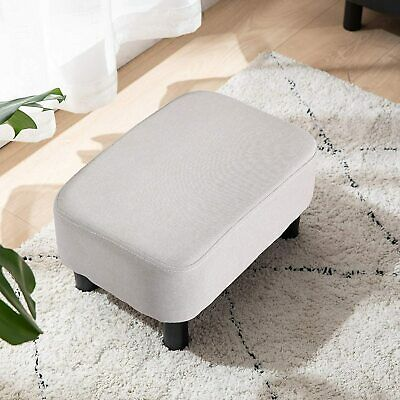 Linen Fabric Padded Stool Bench Footstool Pouffe Living Room Bedroom Footrest • 33.99£