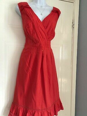 Stunning Ladies  Debenhams John Rocha Spring Summmer Red   Tea   Dress Size 16  • 3.75£