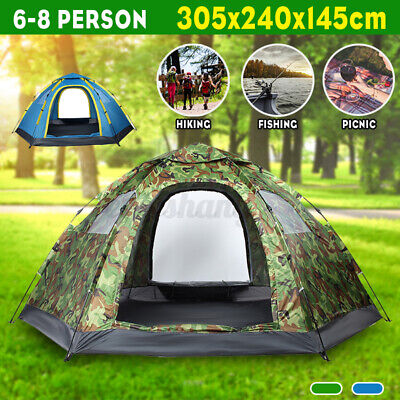 AU73.89 • Buy Instant Up Camping Tent 6-8 Person Family Beach Teepee Hiking Tents Dome Outdoor