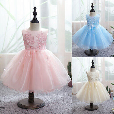 Toddler Baby Wedding Party Tutu Lace Dress Christening Kids Girl Pageant Dresses • 20.39£