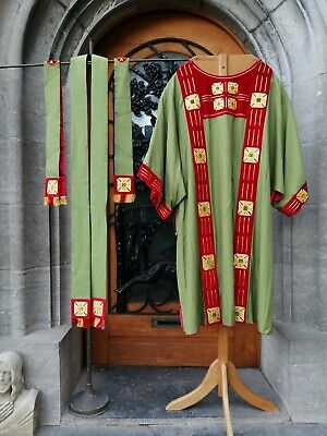 £145 • Buy Set 4 Antique Church Christian Priest Embroidered  Vestment Chasuble Stole