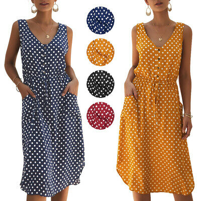 Women Casual V Neck Button Polka Dot Dresses With Pockets Summer Party Sundress • 7.99£