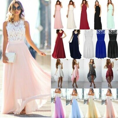 Women Lace Long Dress Evening Party Gowns Formal Bridesmaid Wedding Maxi Dresses • 15.79£