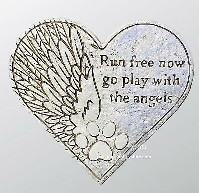 £5.99 • Buy Heart Shape Pet Memorial Plaque Dog Grave Stone Puppy Loved Animal Remembrance