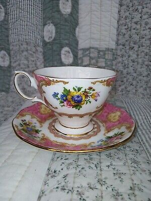 Royal Albert Bone China Tea Cup And Saucer Set Lady Carlyle Pattern Pink Floral • 15£