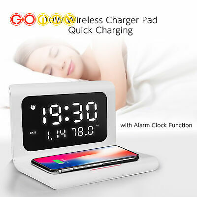 AU25.64 • Buy 10W Clock Qi Wireless Charger LED Digital Alarm Phone Charging Light Pad Station