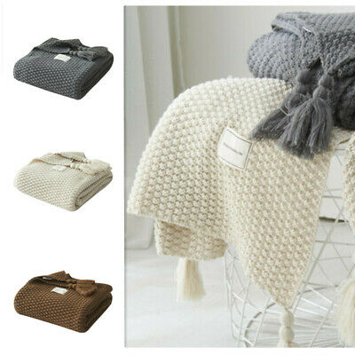 Artificial Cashmere Blanket Knitted Blanket Home Sofa Nap Throws Bedroom Sheet D • 25.70£