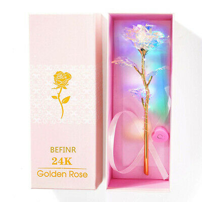 AU18.59 • Buy New 24K Gold Foil Colorful Rose Flower Valentine's Mother's Day Birthday Gifts