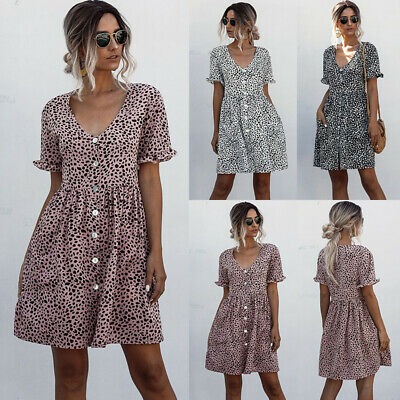 UK Womens V Neck Loose Polka Dot Casual Dress Ladies Summer Holiday Mini Dresses • 8.99£