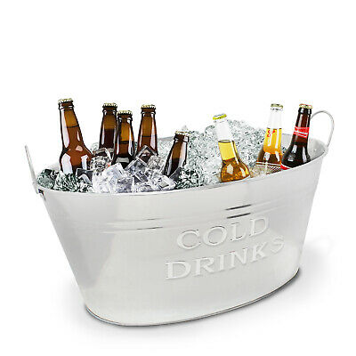 £16.99 • Buy Metal Ice Bucket Drinks Cooler Wine Champagne Can Chiller Beer Bottle Party Tub