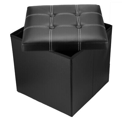 Black Linen Folding Storage Ottoman Pouffe Seat Foot Stool Storage Box • 9.99£