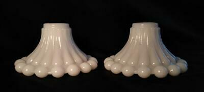 $12.50 • Buy Pair Of Vintage White Milk Glass Candle Stick Taper Holders, Boopie Bubble Bead