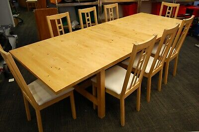 Lovely Modern Pine Extendable Dining Table And 8-10 Dining Chairs - Delivery Pos • 249.99£