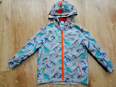 F&F Boys Grey Dinosaur Hooded Lightweight Jacket Coat AGE 6 - 7 YEARS Excellent • 2.99£