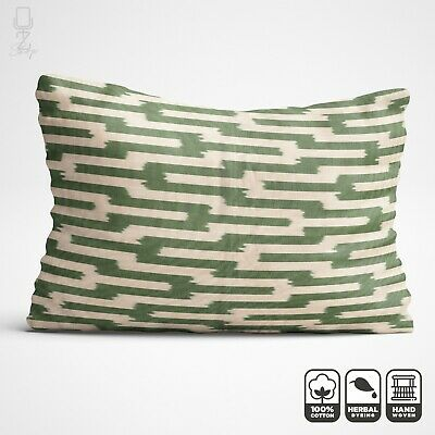 Green Cotton Ikat Throw Pillow From Traditional Handwoven Fabric 16 X 24 Inch • 24.60£