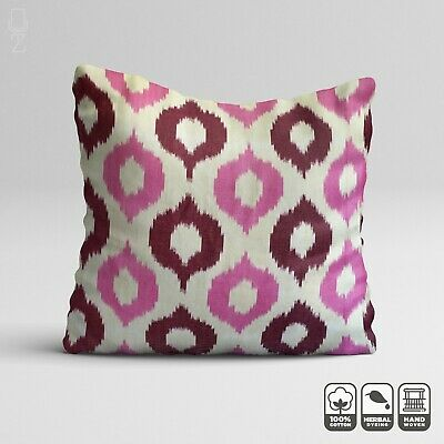 Ikat Pink Throw Pillow From Traditional Handwoven Cotton Fabric | 20 X 20 Inch • 24.60£