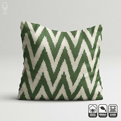 Green Cotton Pillow Cover From Zigzag Ikat Fabric | 20 X 20 Inch | Double Sided • 24.60£