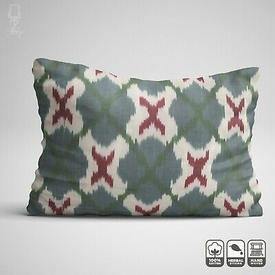 Handwoven Ikat Cotton Cushion Cover With Bohemian Green & Burgundy 16 X 24 Inch • 24.60£