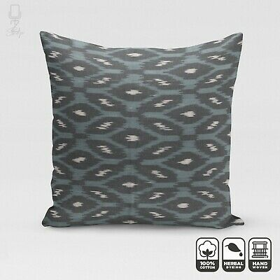Ikat 100% Cotton Handwoven Pillow Cover With Blue & Black Leafs | 20 X 20 Inch • 24.60£