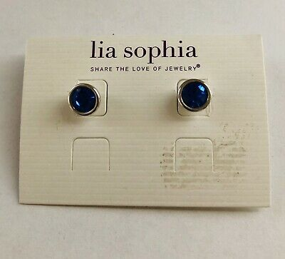 $ CDN10.14 • Buy LIA SOPHIA Sapphire Blue Glass Silver Tone Stud Post Pierced Earrings