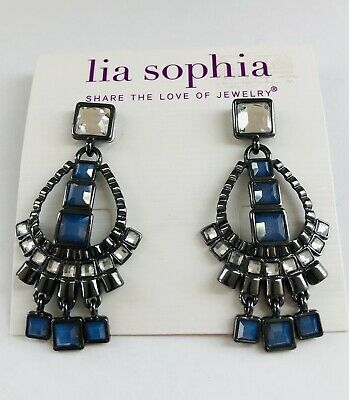 $ CDN19.02 • Buy LIA SOPHIA Gun Metal Grey Blue Clear LONG Dangle Pierced Post Earrings
