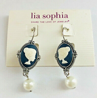 $ CDN19.02 • Buy Signed LIA SOPHIA Slate Blue & White CAMEO & Pearl Dangle Pierced Earrings