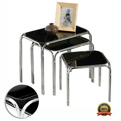 Nest Of 3 Tables Curved Black Glass Coffee Side End Chrome Legs Home Furniture • 119£