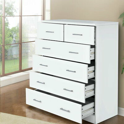 AU183.90 • Buy NEW Tallboy Dresser Table 6 Chest Of Drawers Cabinet Bedroom Storage White