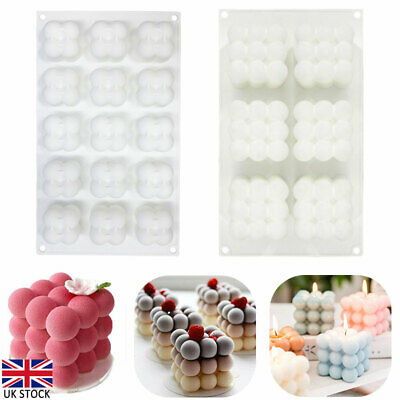 £9.04 • Buy 3D Cube Wax Candle Plaster Mould Silicone Square Bubble Dessert Mold Tool DIY UK