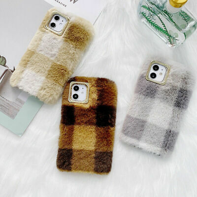 Plush Plaid Fluffy Phone Case Cover Shell Faux Fur For IPhone 12 11 Pro Max X XR • 4.16£