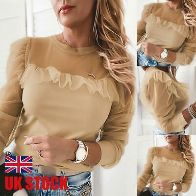 Womens Sexy Mesh Puff Sleeve T Shirt Tops Ladies Party Ruffled Slim Fit Blouse • 4.89£