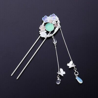 $ CDN9.31 • Buy Blue Bead Hair Accessories Tassel Flower Hairpin Retro Hanfu Hair For Kids Girls