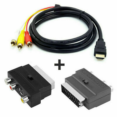 SCART TO 3 RCA SVHS S-video Adaptor RCA Phono Cable Audio Video TV AV Lead Cable • 6.39£