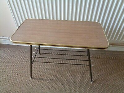 Vintage Teak Effect Formica & Metal Coffee Table With Magazine Rack Folding Legs • 29.95£