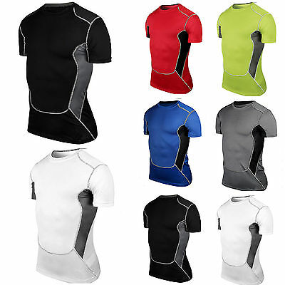 Men's Compression Base Layer Tops Short Sleeve T-shirt Gym Sports Workout Tee • 11.69£