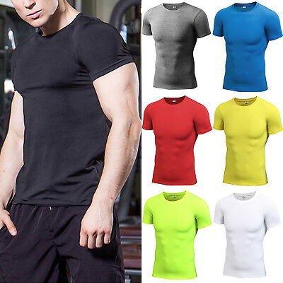Men Compression Base Layer Tops Short Sleeve T-Shirt Stretch Fitness Sports Tee • 11.39£